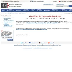 Guidelines for Program Project Grants, NHLBI, NIH, DHHS