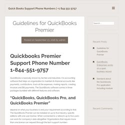 Guidelines for QuickBooks Premier - Quick Books Support Phone Numbers
