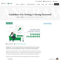 Guidelines for Setting a Strong Password