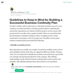 Guidelines to Keep in Mind for Building a Successful Business Continuity Plan