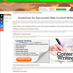Guidelines for Successful Web Content Writing