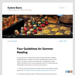 Four Guidelines for Summer Reading