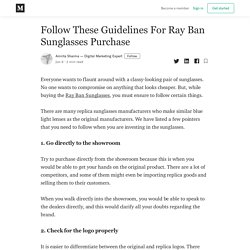 Follow These Guidelines For Ray Ban Sunglasses Purchase