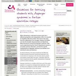 Guidelines for teaching students with Asperger syndrome in further education colleges