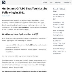 Guidelines Of ASO That You Must be Following in 2021 -