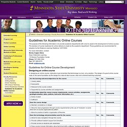 Guidelines for Academic Online Courses – Faculty Resources – – Minnesota State University, Mankato