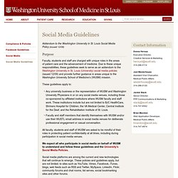 Social Media Guidelines | Washington University School of Medicine in St. Louis