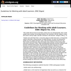 Guidelines for Working with Adult Learners. ERIC Digest