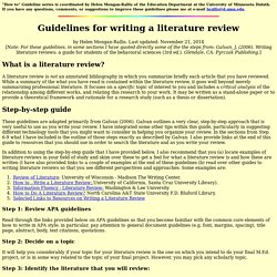 ... Written Literature Review Sample Here | Writing a Literature Review
