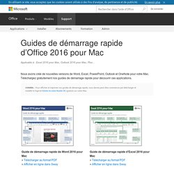 Guides de démarrage rapide d'Office2016 pour Mac