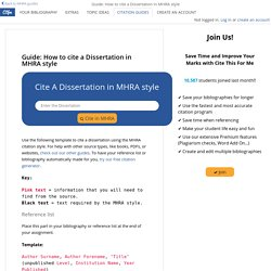 Guides: How to reference a Dissertation in MHRA style - Cite This For Me