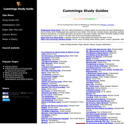 Free Study Guides for Shakespeare and Other Authors