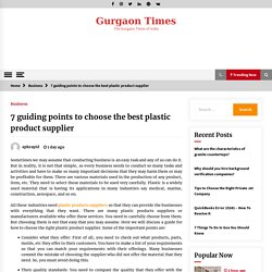 7 guiding points to choose the best plastic product supplier