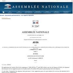 N°2267 tome VI - Avis de M. Guillaume Larrivé sur le projet de loi de finances pour 2015 (n°2234)
