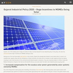 Gujarat Industrial Policy 2020 - Huge Incentives to MSMEs Going Solar