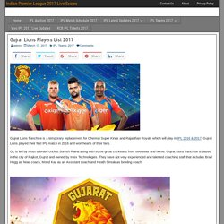 Gujrat Lions Players List 2017 I Live Scores For IPL 2017