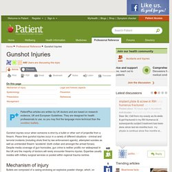 Gunshot Injuries; Gunshot wounds (GSW) information