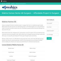 Mahira Homes Sector 68 Gurgaon - Affordable Project In Gurgaon