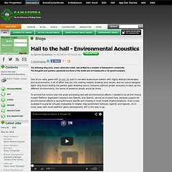 Dennis Gustafsson's Blog - Hail to the hall - Environmental Acoustics