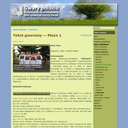 Gwary polskie - Tekst gwarowy — Płaza 1
