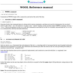 GWM Manual: WOOL Reference Manual