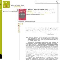 H. Bonnard, Grammaire française