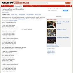 Habanera Text and Translation - The English Translation of Habanera from Bizet's Carmen