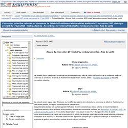 Convention collective nationale du commerce de détail de l'habillement et des articles textiles du 25 novembre 1987, révisé par avenant du 17 juin 2004 - Textes Attachés - Accord du 4 novembre 2015 relatif au remboursement des frais de santé