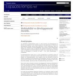 Elena Cogato Lanza•Habitabilité vs développement durable.