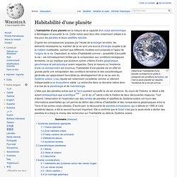 Habitabilité d'une planète