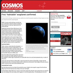 First habitable exoplanet confirmed