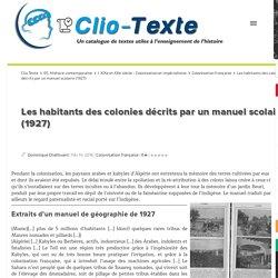 Les habitants des colonies décrits par un manuel scolaire (1927) Clio Texte