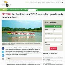 Les habitants du TIPNIS ne veulent pas de route dans leur forêt