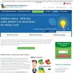 Habiter mieux : 40 % des aides dédiés à la rénovation en milieu rural