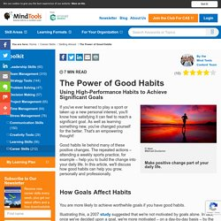 The Power of Good Habits - Career Development From MindTools.com
