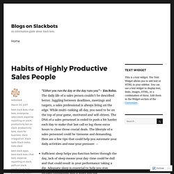 Habits of Highly Productive Sales People – Blogs on Slackbots