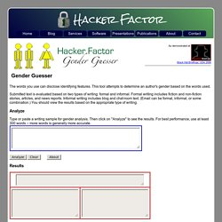 Hacker Factor: Gender Guesser