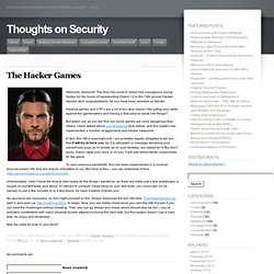 The Hacker Games « Thoughts on Security
