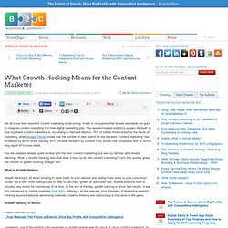 What Growth Hacking Means for the Content Marketer