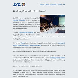 Hacking Education (continued)