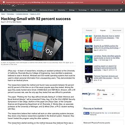 Hacking Gmail with 92 percent success