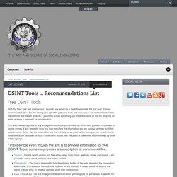 OSINT Tools - Recommendations List