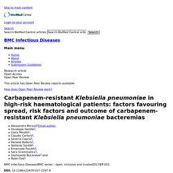 BMC Infectious Diseases 10/03/17 Carbapenem-resistant Klebsiella pneumoniae in high-risk haematological patients: factors favouring spread, risk factors and outcome of carbapenem-resistant Klebsiella pneumoniae bacteremias