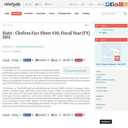 ReliefWeb » Document » Haiti – Cholera Fact Sheet #20, Fiscal Year (FY) 2011