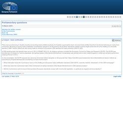 PARLEMENT EUROPEEN - Réponse à question E-002155-16 Halal certification