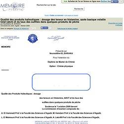 Université Ibn Zohr, Agadir - Master - 2009 - Mémoire en ligne : Qualite des produits halieutiques : dosage des teneur en histam