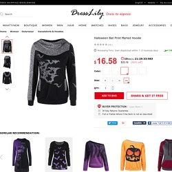 Halloween Bat Print Marled Hoodie, HEATHER GRAY, XL in Sweatshirts & Hoodies