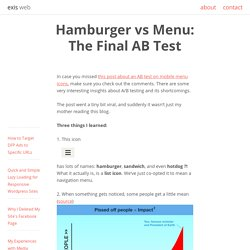 Hamburger vs Menu: The Final AB Test