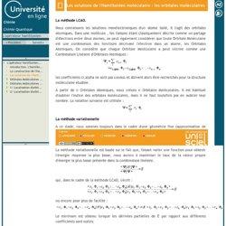 L'opérateur hamiltonien-Les solutions de l'Hamiltonien moléculaire : les orbitales moléculaires