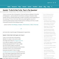 'To Be Or Not To Be': Hamlet's Soliloquy With Analysis✔️